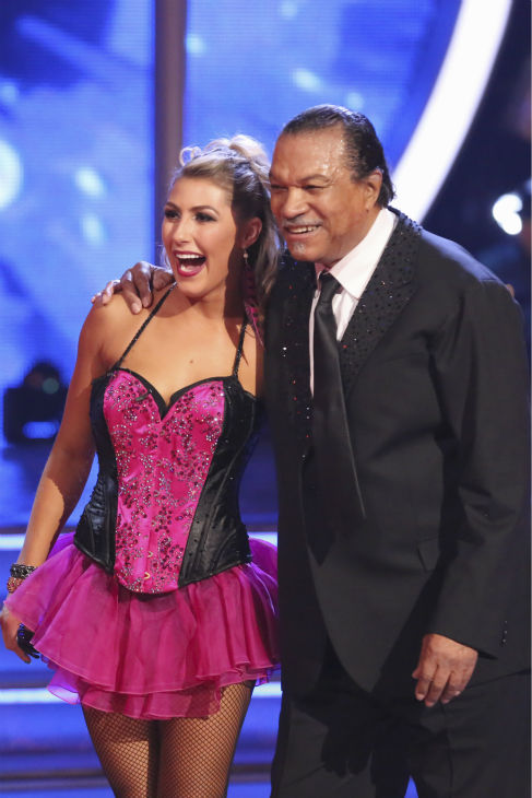 Billy Dee Williams of &#39;Star Wars&#39; fame and Emma Slater react to being safe from elimination on week 2 of &#39;Dancing With The Stars&#39; on March 24, 2014. They received 15 out of 30 points from the judges for their Tango. <span class=meta>(ABC Photo &#47; Adam Taylor)</span>
