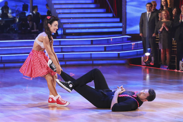 Meryl Davis and Maksim Chmerkovskiy Swing dance on week 2 of &#39;Dancing With The Stars&#39; on March 24, 2014. They received 25 out of 30 points from the judges. Davis and fellow &#39;DWTS&#39; contestant Charlie White won a gold medal for ice dancing at the 2014 Olympics in Sochi, Russia earlier this year. <span class=meta>(ABC Photo &#47; Adam Taylor)</span>