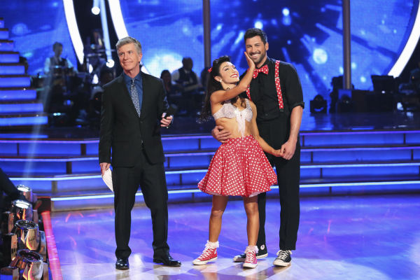 Meryl Davis and Maksim Chmerkovskiy react to being safe from elimination on week 2 of &#39;Dancing With The Stars&#39; on March 24, 2014. They received 25 out of 30 points from the judges for their Swing. Davis and fellow &#39;DWTS&#39; contestant Charlie White won a gold medal for ice dancing at the 2014 Olympics in Sochi, Russia earlier this year. <span class=meta>(ABC Photo &#47; Adam Taylor)</span>