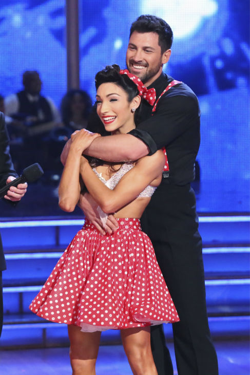 "<div class=""meta ""><span class=""caption-text "">Meryl Davis and Maksim Chmerkovskiy await their fate on week 2 of 'Dancing With The Stars' on March 24, 2014. They received 25 out of 30 points from the judges for their Swing routine. Davis and fellow 'DWTS' contestant Charlie White won a gold medal for ice dancing at the 2014 Olympics in Sochi, Russia earlier this year. (ABC Photo / Adam Taylor)</span></div>"