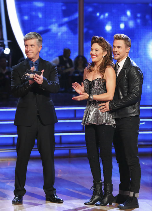 Amy Purdy, a double amputee and U.S. Paralympic Team Snowboarder, and Derek Hough react to being safe from elimination on week 2 of &#39;Dancing With The Stars&#39; on March 24, 2014. They received 24 out of 30 points from the judges for their Swing routine. <span class=meta>(ABC Photo &#47; Adam Taylor)</span>