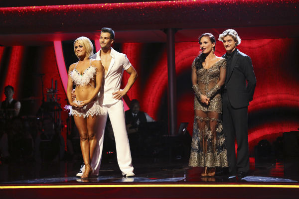 L-R: Peta Murgatroyd and &#39;Big Time Rush&#39; star James Maslow and Olympic ice dancing champion Charlie White and Sharna Burgess await their fate on week 2 of &#39;Dancing With The Stars&#39; on March 24, 2014. The first pair received received 25 out of 30 points from the judges for their Salsa, while the second were given 25 out of 30 points from the judges for their Tango. <span class=meta>(ABC Photo &#47; Adam Taylor)</span>