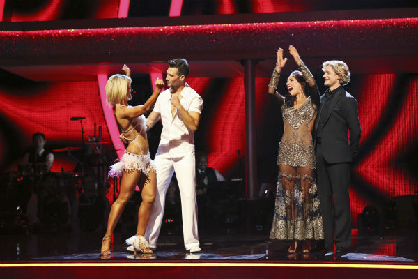 "<div class=""meta ""><span class=""caption-text "">L-R: Peta Murgatroyd and 'Big Time Rush' star James Maslow and Olympic ice dancing champion Charlie White and Sharna Burgess react to being safe from elimination on week 2 of 'Dancing With The Stars' on March 24, 2014. The first pair received received 25 out of 30 points from the judges for their Salsa, while the second were given 25 out of 30 points from the judges for their Tango. (ABC Photo / Adam Taylor)</span></div>"