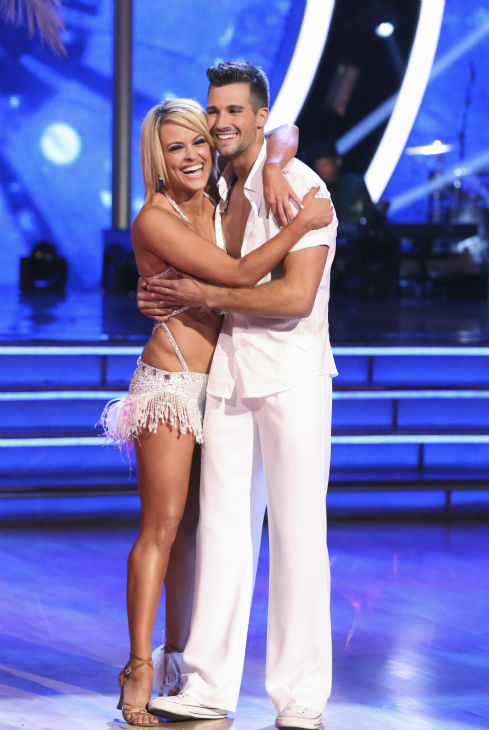 "<div class=""meta ""><span class=""caption-text "">James Maslow and Peta Murgatroyd await their fate on week 2 of 'Dancing With The Stars' on March 24, 2014. They received 25 out of 30 points from the judges for their Salsa. (ABC Photo / Adam Taylor)</span></div>"