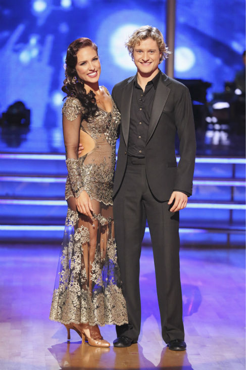 "<div class=""meta ""><span class=""caption-text "">Charlie White and Sharna Burgess await their fate on week 2 of 'Dancing With The Stars' on March 24, 2014. They received 25 out of 30 points from the judges for their Tango. White and fellow 'DWTS' contestant Meryl Davis won a gold medal for ice dancing at the 2014 Olympics in Sochi, Russia earlier this year. (ABC Photo / Adam Taylor)</span></div>"