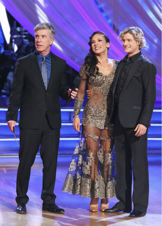 Charlie White and Sharna Burgess await their fate on week 2 of &#39;Dancing With The Stars&#39; on March 24, 2014. They received 25 out of 30 points from the judges for their Tango. White and fellow &#39;DWTS&#39; contestant Meryl Davis won a gold medal for ice dancing at the 2014 Olympics in Sochi, Russia earlier this year. Also pictured: Host Tom Bergeron. <span class=meta>(ABC Photo &#47; Adam Taylor)</span>