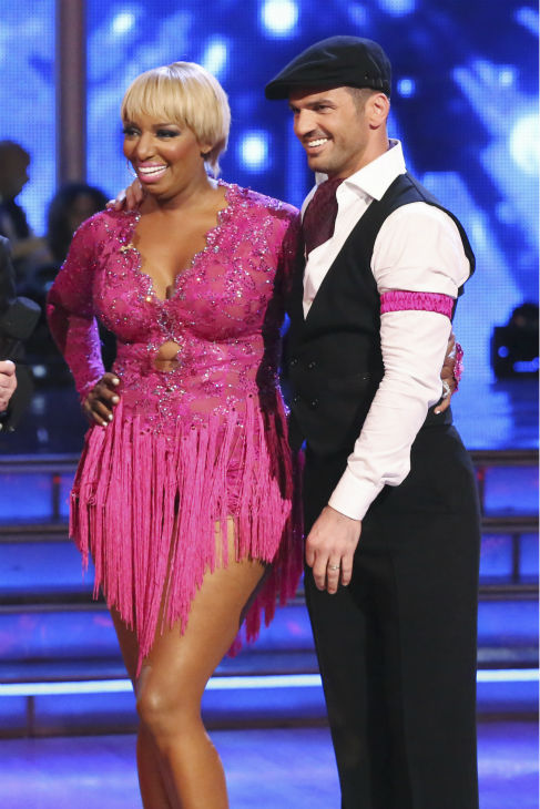 "<div class=""meta ""><span class=""caption-text "">NeNe Leakes of 'The Real Housewives of Atlanta' and Tony Dovolani react to being safe from elimination on week 2 of 'Dancing With The Stars' on March 24, 2014. They received 21 out of 30 points from the judges for their Jive. (ABC Photo / Adam Taylor)</span></div>"