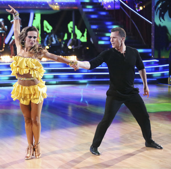 "<div class=""meta ""><span class=""caption-text "">Sean Avery, a retired NHL hockey player, and Karina Smirnoff dance the Salsa on week 2 of 'Dancing With The Stars' on March 24, 2014. They received 21 out of 30 points from the judges. (ABC Photo / Adam Taylor)</span></div>"