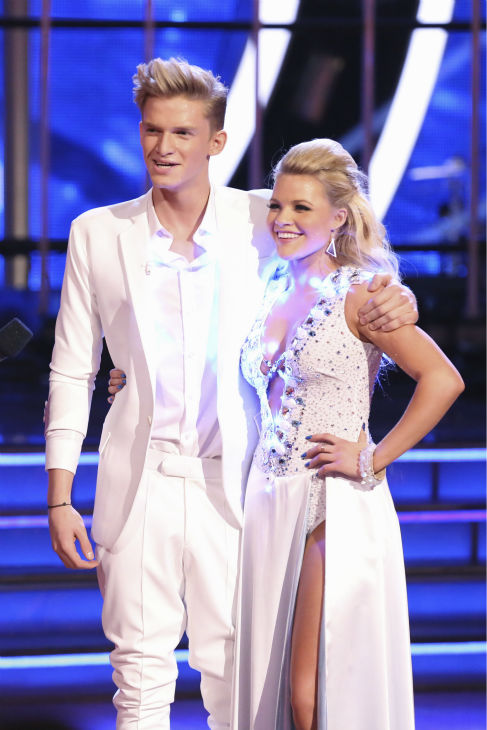 Cody Simpson, an Australian pop star, and Witney Carson react to being safe from elimination on week 2 of &#39;Dancing With The Stars&#39; on March 24, 2014. They received 22 out of 30 points from the judges for their Tango. <span class=meta>(ABC Photo &#47; Adam Taylor)</span>