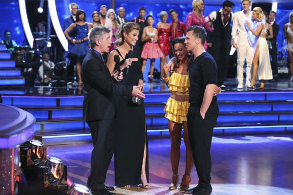 Sean Avery, a retired NHL hockey player, and Karina Smirnoff react to being eliminated on week 2 of &#39;Dancing With The Stars&#39; on March 24, 2014. They received 21 out of 30 points from the judges for their Salsa. Also pictured: Co-hosts Tom Bergeron and Erin Andrews. <span class=meta>(ABC Photo &#47; Adam Taylor)</span>