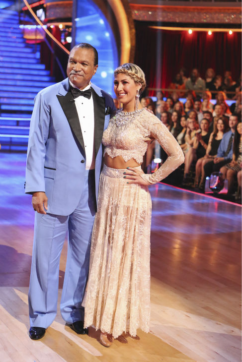 Billy Dee Williams and Emma Slater appear after it is announced they are exiting ABC&#39;s &#39;Dancing With The Stars&#39; as a result of Williams&#39; chronic back pain, during week 3 on March 31, 2014. <span class=meta>(ABC Photo &#47; Adam Taylor)</span>