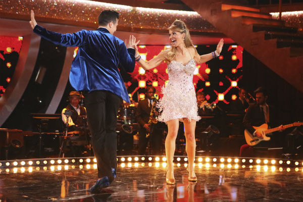 Candace Cameron Bure of &#39;Full House&#39; fame and Mark Ballas perform the Jive on week 3 of ABC&#39;s &#39;Dancing With The Stars&#39; on March 31, 2014. They received 32 out of 40 points from the judges. <span class=meta>(ABC Photo &#47; Adam Taylor)</span>