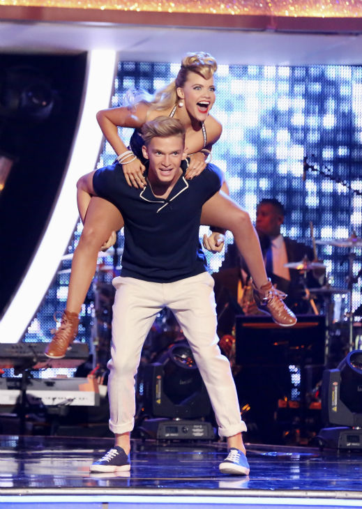 "<div class=""meta image-caption""><div class=""origin-logo origin-image ""><span></span></div><span class=""caption-text"">Cody Simpson and Witney Carson appear on week 3 of ABC's 'Dancing With The Stars' on March 31, 2014. They received 35 out of 40 points from the judges for their Jazz routine.   (ABC Photo / Adam Taylor)</span></div>"