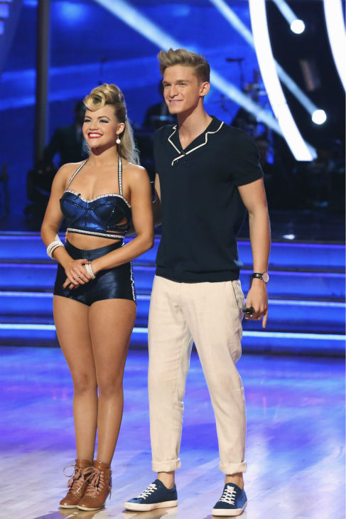 "<div class=""meta image-caption""><div class=""origin-logo origin-image ""><span></span></div><span class=""caption-text"">Cody Simpson and Witney Carson await their fate on week 3 of ABC's 'Dancing With The Stars' on March 31, 2014. They received 35 out of 40 points from the judges for their Jazz routine. (ABC Photo / Adam Taylor)</span></div>"