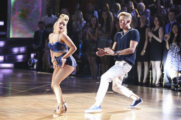 "<div class=""meta image-caption""><div class=""origin-logo origin-image ""><span></span></div><span class=""caption-text"">Cody Simpson and Witney Carson dance a Jazz routine on week 3 of ABC's 'Dancing With The Stars' on March 31, 2014. They received 35 out of 40 points from the judges. (ABC Photo / Adam Taylor)</span></div>"