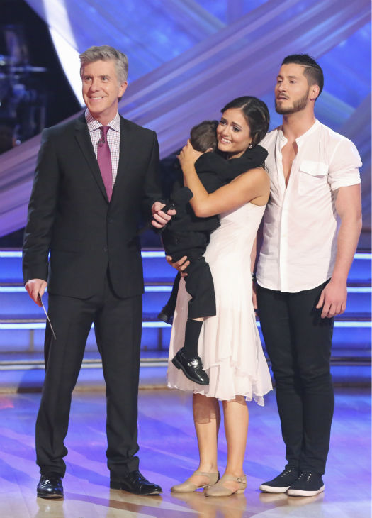 Danica McKellar hugs her son, Draco, as she and partner Valentin Chmerkovskiy appear on week 3 of ABC&#39;s &#39;Dancing With The Stars&#39; on March 31, 2014. They received 36 out of 40 points from the judges for their Contemporary routine. Also pictured: Co-host Tom Bergeron. <span class=meta>(ABC Photo &#47; Adam Taylor)</span>