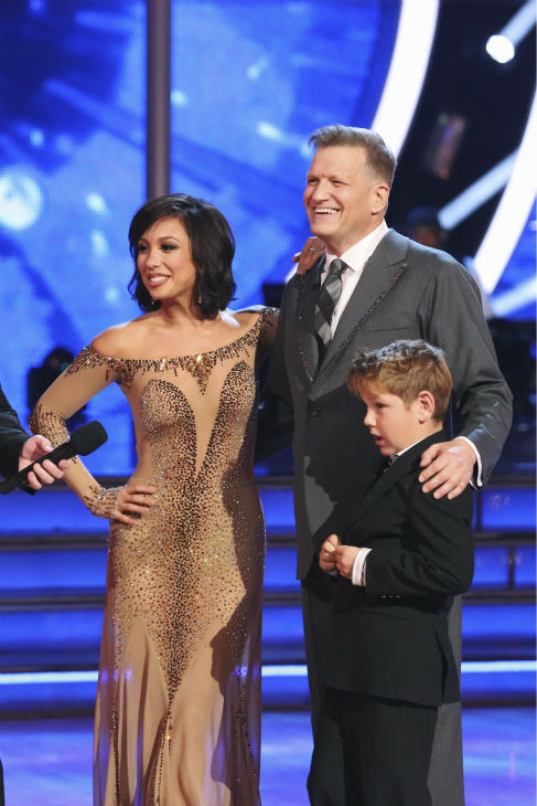 Drew Carey, pictured with his son, Connor, and partner Cheryl Burke await their fate on week 3 of ABC&#39;s &#39;Dancing With The Stars&#39; on March 31, 2014. They received 30 out of 40 points from the judges for their Waltz, which Carey dedicated to the boy. <span class=meta>(ABC Photo &#47; Adam Taylor)</span>