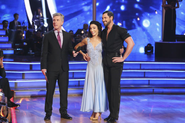 Meryl Davis and Maksim Chmerkovskiy await their fate on week 3 of ABC&#39;s &#39;Dancing With The Stars&#39; on March 31, 2014. They received 39 out of 40 points from the judges for their Foxtrot. Davis and fellow &#39;DWTS&#39; contestant Charlie White won Olympic gold medals for ice dancing at the 2014 Sochi Olympics. <span class=meta>(ABC Photo &#47; Adam Taylor)</span>