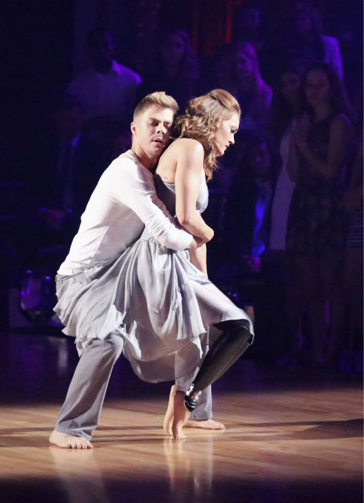Amy Purdy and Derek Hough dance a Contemporary routine on week 3 of ABC&#39;s &#39;Dancing With The Stars&#39; on March 31, 2014. They received 36 out of 40 points from the judges. Purdy had dedicated the dance to her father, who had donated a kidney to her after she battled bacterial meningitis in 1999. The disease also caused her to lose part of her legs. <span class=meta>(ABC Photo &#47; Adam Taylor)</span>
