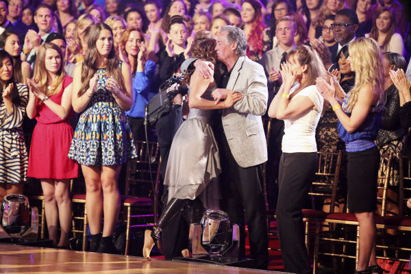 Amy Purdy kisses her parents, Stephen and Sherri, after she and Derek Hough danced a Contemporary routine on week 3 of ABC&#39;s &#39;Dancing With The Stars&#39; on March 31, 2014. They received 36 out of 30 points from the judges. Purdy had dedicated the dance to her father, who had donated a kidney to her after she battled bacterial meningitis in 1999. The disease also caused her to lose part of her legs. <span class=meta>(ABC Photo &#47; Adam Taylor)</span>