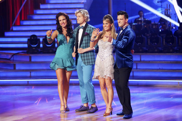 Charlie White and partner Sharna Burgess and Candace Cameron Bure and partner Mark Ballas appear on week 3 of ABC&#39;s &#39;Dancing With The Stars&#39; on March 31, 2014. White and Burgess received 36 out of 30 points from the judges for their Jive. Cameron Bure and Ballas received 32 out of 40 points from the judges for theirs. <span class=meta>(ABC Photo &#47; Adam Taylor)</span>
