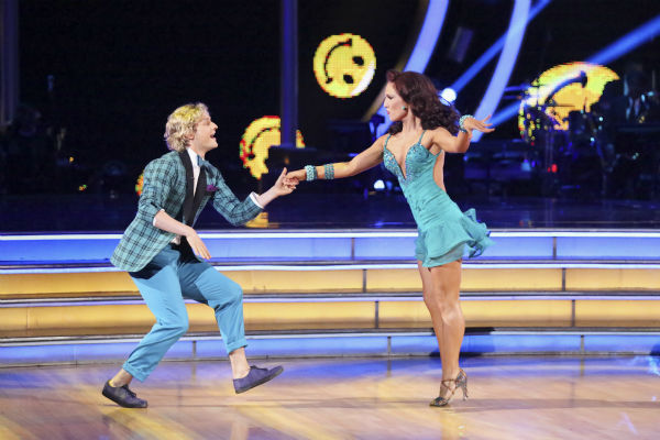"<div class=""meta image-caption""><div class=""origin-logo origin-image ""><span></span></div><span class=""caption-text"">Charlie White and Sharna Burgess dance the Jive on week 3 of ABC's 'Dancing With The Stars' on March 31, 2014. They received 36 out of 40 points from the judges. White and fellow 'DWTS' contestant Meryl Davis won Olympic gold medals for ice dancing at the 2014 Sochi Olympics. (ABC Photo / Adam Taylor)</span></div>"