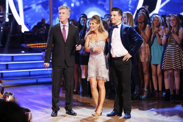 Candace Cameron Bure and Mark Ballas await their fate on week 3 of ABC&#39;s &#39;Dancing With The Stars&#39; on March 31, 2014. They received 32 out of 40 points from the judges for their Jive. Also pictured: Co-host Tom Bergeron. <span class=meta>(ABC Photo &#47; Adam Taylor)</span>