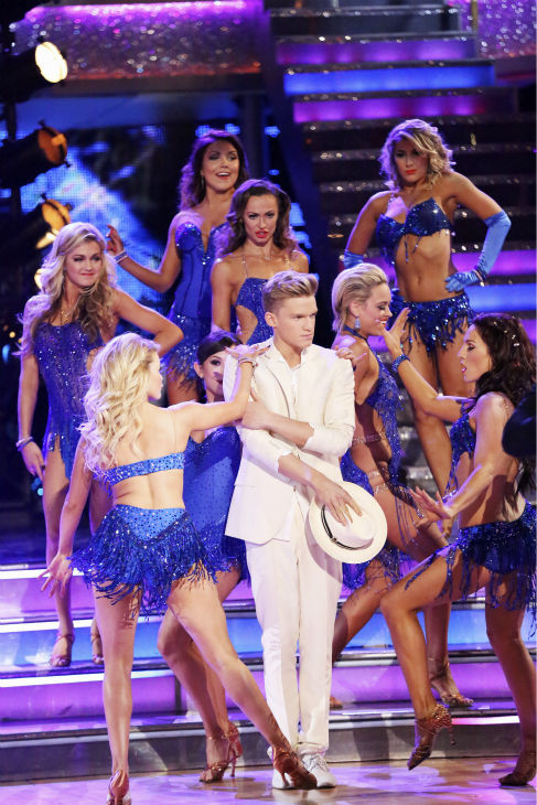 "<div class=""meta ""><span class=""caption-text "">Cody Simpson appears with pro dancers during week 4 of ABC's 'Dancing With The Stars' season 18 on April 7, 2014. (ABC Photo / Adam Taylor)</span></div>"