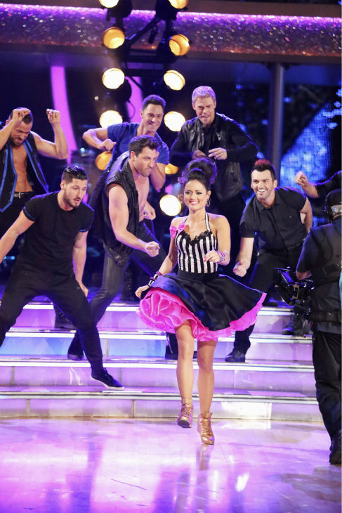 "<div class=""meta ""><span class=""caption-text "">Danica McKellar appears with pro dancers during week 4 of ABC's 'Dancing With The Stars' season 18 on April 7, 2014. (ABC Photo / Adam Taylor)</span></div>"