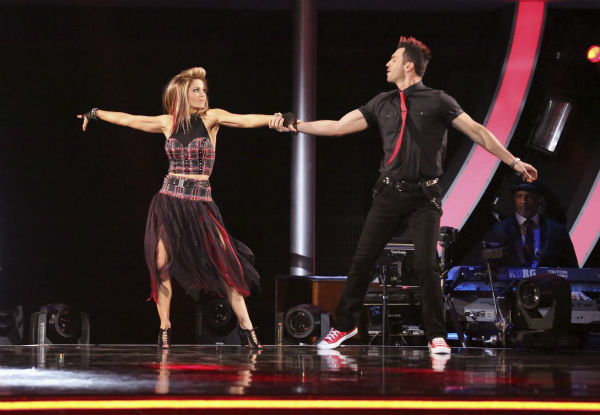 "<div class=""meta image-caption""><div class=""origin-logo origin-image ""><span></span></div><span class=""caption-text"">Candace Cameron Bure and Tony Dovolani perform the Quickstep on week 4 of ABC's 'Dancing With The Stars' on April 7, 2014. They received 28 out of 40 points from the judges. Bure's regular partner is Mark Ballas. (ABC Photo / Adam Taylor)</span></div>"