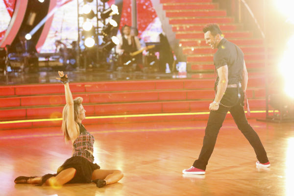 "<div class=""meta ""><span class=""caption-text "">Candace Cameron Bure and Tony Dovolani perform the Quickstep on week 4 of ABC's 'Dancing With The Stars' on April 7, 2014. They received 28 out of 40 points from the judges. Bure's regular partner is Mark Ballas. (ABC Photo / Adam Taylor)</span></div>"