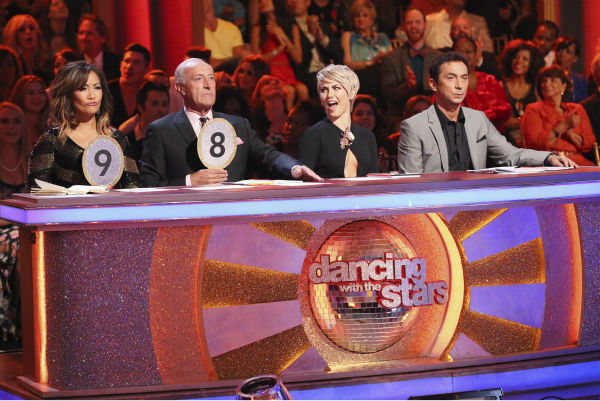 The judges of ABC&#39;s &#39;Dancing With The Stars&#39; -- Carrie Ann Inaba, Len Goodman and Bruno Tonioli, plus guest judge and former cast member Julianne Hough &#40;second from right&#41; appear on week 4 of season 18 on April 7, 2014. <span class=meta>(ABC Photo &#47; Adam Taylor)</span>