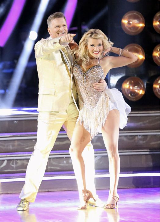 Drew Carey and Witney Carson dance the Cha Cha Cha on week 4 of ABC&#39;s &#39;Dancing With The Stars&#39; on April 7, 2014. They received 33 out of 40 points from the judges. Carey&#39;s regular partner is Cheryl Burke. <span class=meta>(ABC Photo &#47; Adam Taylor)</span>