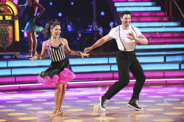 "<div class=""meta image-caption""><div class=""origin-logo origin-image ""><span></span></div><span class=""caption-text"">Danica McKellar and Maksim Chmerkovskiy dance the Jive routine on week 4 of ABC's 'Dancing With The Stars' on April 7, 2014. They received 36 out of 40 points from the judges. McKellar's regular partner is Chmerkovskiy's brother, Val. (ABC Photo / Adam Taylor)</span></div>"