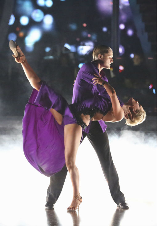 "<div class=""meta ""><span class=""caption-text "">Charlie White and Peta Murgatroyd dance the Rumba on week 4 of ABC's 'Dancing With The Stars' on April 7, 2014. They received 33 out of 40 points from the judges. White's regular partner is Sharna Burgess. (ABC Photo / Adam Taylor)</span></div>"
