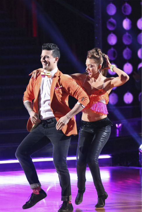 "<div class=""meta image-caption""><div class=""origin-logo origin-image ""><span></span></div><span class=""caption-text"">Amy Purdy and Mark Ballas dance the Salsa on week 4 of ABC's 'Dancing With The Stars' on April 7, 2014. They received 34 out of 40 points from the judges. Purdy's regular partner is Derek Hough. (ABC Photo / Adam Taylor)</span></div>"