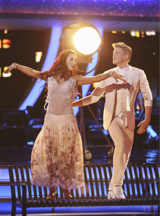 "<div class=""meta ""><span class=""caption-text "">Cody Simpson and Sharna Burgess dance the Foxtrot on week 4 of ABC's 'Dancing With The Stars' on April 7, 2014. They received 31 out of 40 points from the judges. Simpson's regular partner is Witney Carson. (ABC Photo / Adam Taylor)</span></div>"
