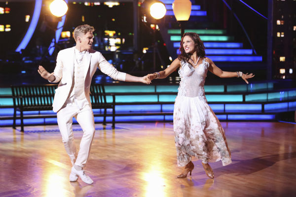 "<div class=""meta image-caption""><div class=""origin-logo origin-image ""><span></span></div><span class=""caption-text"">Cody Simpson and Sharna Burgess dance the Foxtrot on week 4 of ABC's 'Dancing With The Stars' on April 7, 2014. They received 31 out of 40 points from the judges. Simpson's regular partner is Witney Carson. (ABC Photo / Adam Taylor)</span></div>"