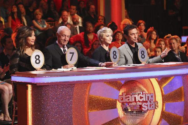 "<div class=""meta ""><span class=""caption-text "">The judges of ABC's 'Dancing With The Stars' -- Carrie Ann Inaba, Len Goodman and Bruno Tonioli, plus guest judge and former cast member Julianne Hough (second from right) appear on week 4 of season 18 on April 7, 2014. (ABC Photo / Adam Taylor)</span></div>"