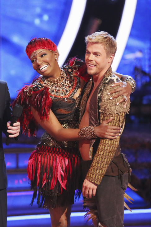 "<div class=""meta image-caption""><div class=""origin-logo origin-image ""><span></span></div><span class=""caption-text"">NeNe Leakes and Derek Hough performed a Jazz routine on week 4 of ABC's 'Dancing With The Stars' on April 7, 2014. They received 32 out of 40 points from the judges. Leakes' regular partner is Tony Dovolani. (ABC Photo / Adam Taylor)</span></div>"