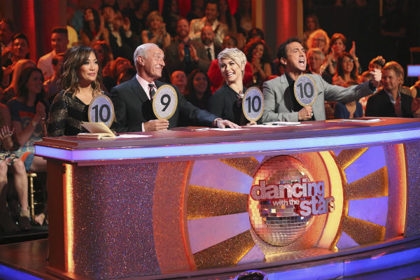 "<div class=""meta image-caption""><div class=""origin-logo origin-image ""><span></span></div><span class=""caption-text"">The judges of ABC's 'Dancing With The Stars' -- Carrie Ann Inaba, Len Goodman and Bruno Tonioli, plus guest judge and former cast member Julianne Hough (second from right) appear on week 4 of season 18 on April 7, 2014. (ABC Photo / Adam Taylor)</span></div>"
