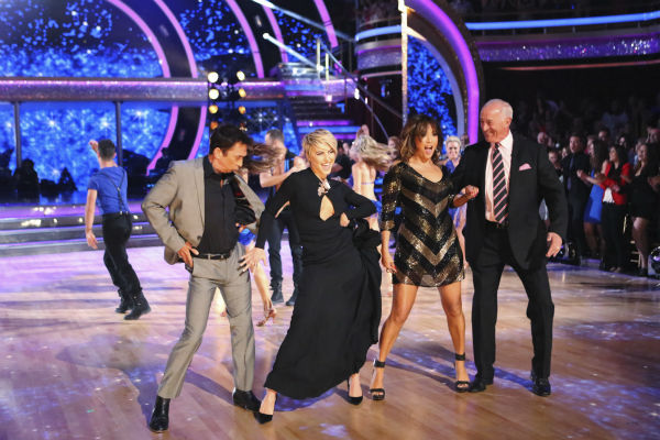 "<div class=""meta image-caption""><div class=""origin-logo origin-image ""><span></span></div><span class=""caption-text"">The judges of ABC's 'Dancing With The Stars' -- Bruno Tonioli, Len Goodman and Carrie Ann Inaba, plus guest judge and former cast member Julianne Hough (second from left) appear on week 4 of season 18 on April 7, 2014. (ABC Photo / Adam Taylor)</span></div>"