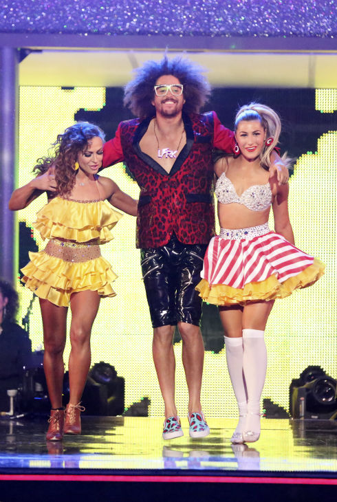 "<div class=""meta image-caption""><div class=""origin-logo origin-image ""><span></span></div><span class=""caption-text"">Redfoo of LMFAO fame appears with pro dancers Karina Smirnoff and Emma Slater on 'Dancing With The Stars' season 18, week 6 on April 21, 2014. Redfoo served as a guest judge on the ABC show. (ABC Photo / Adam Taylor)</span></div>"