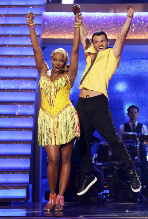 NeNe Leakes and Tony Dovolani react to being safe on week 6 of ABC&#39;s &#39;Dancing With The Stars&#39; season 18 on April 21, 2014. They received 33 out of 40 points from the judges for their Salsa. <span class=meta>(ABC Photo &#47; Adam Taylor)</span>