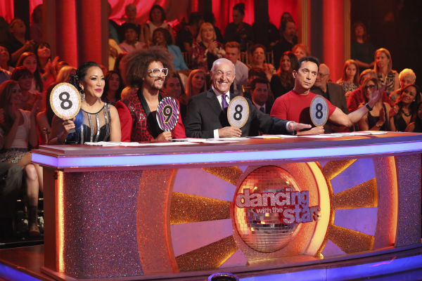 "<div class=""meta image-caption""><div class=""origin-logo origin-image ""><span></span></div><span class=""caption-text"">'Dancing With The Stars' judges Carrie Ann Inaba, Len Goodman and Bruno Tonioli and guest judge Redfoo of LMFAO fame give NeNe Leakes and Tony Dovolani 33 out of 40 points for their Salsa on week 6 of the ABC show's season 18 on April 21, 2014. (ABC Photo / Adam Taylor)</span></div>"