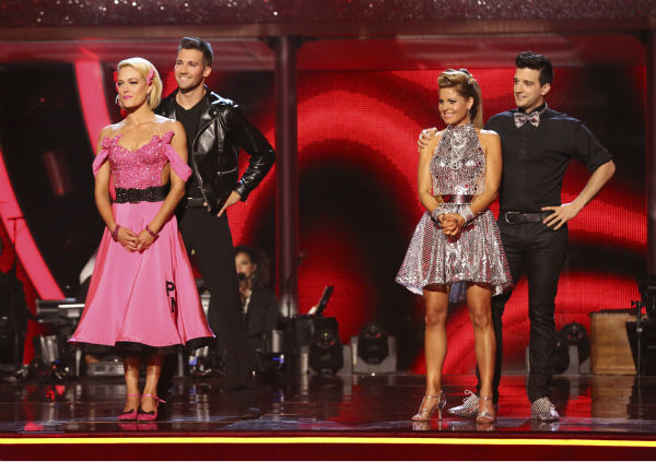 James Maslow and Peta Murgatroyd and Candace Cameron Bure and Mark Ballas await their face on week 6 of ABC&#39;s &#39;Dancing With The Stars&#39; season 18 on April 21, 2014. Maslow and Murgatroyd received 35 out of 40 points for their Quickstep and Bure and Ballas received 32 out of 40 points for their Cha Cha Cha. <span class=meta>(ABC Photo &#47; Adam Taylor)</span>