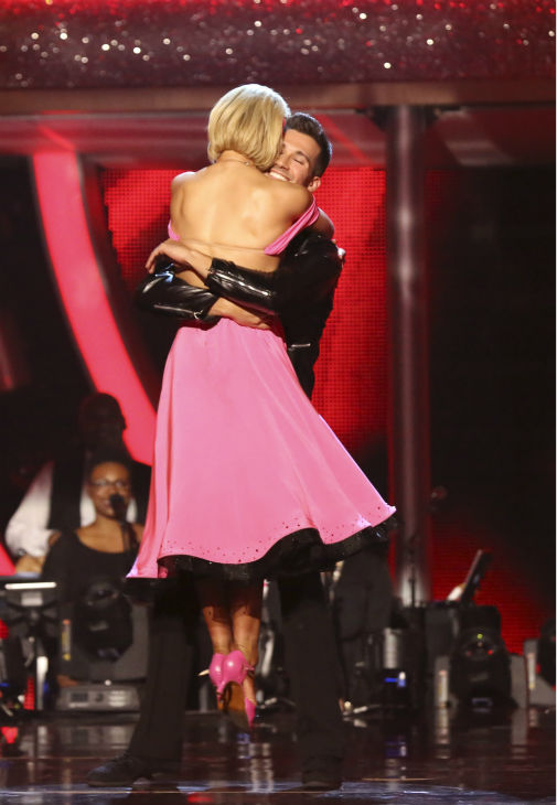 James Maslow and Peta Murgatroyd react to being safe on week 6 of ABC&#39;s &#39;Dancing With The Stars&#39; season 18 on April 21, 2014. They received 35 out of 40 points for their Quickstep from the judges. <span class=meta>(ABC Photo &#47; Adam Taylor)</span>