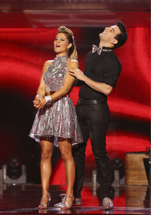 Candace Cameron Bure and Mark Ballas react to being safe on week 6 of ABC&#39;s &#39;Dancing With The Stars&#39; season 18 on April 21, 2014. They received 32 out of 40 points for their Cha Cha Cha. <span class=meta>(ABC Photo &#47; Adam Taylor)</span>