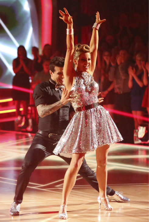 "<div class=""meta image-caption""><div class=""origin-logo origin-image ""><span></span></div><span class=""caption-text"">Candace Cameron Bure and Mark Ballas dance the Cha Cha Cha on week 6 of ABC's 'Dancing With The Stars' season 18 on April 21, 2014. They received 32 out of 40 points from the judges. (ABC Photo / Adam Taylor)</span></div>"