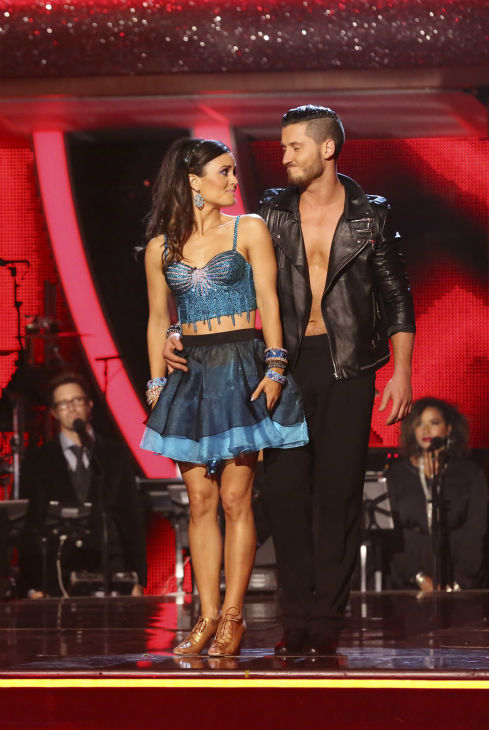 Danica McKellar and Val Chmerkovskiy and Meryl Davis and Val&#39;s brother Maksim Chmerkovskiy await their fate on week 6 of ABC&#39;s &#39;Dancing With The Stars&#39; on April 21, 2014. They received 36 out of 40 points for their Cha Cha Cha. <span class=meta>(ABC Photo &#47; Adam Taylor)</span>